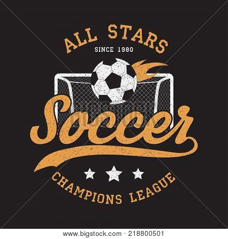 Soccer sports apparel with football goal and fiery ball. Typography emblem for t-shirt. Design for athletic clothes print. Vector illustration.