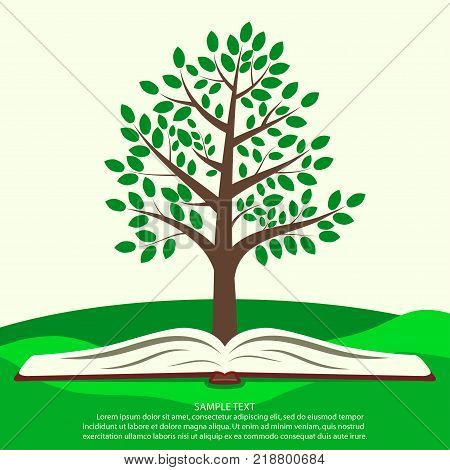 Green tree grows from open book. Ecology infographics concept, template for ecological print product. Vector illustration.