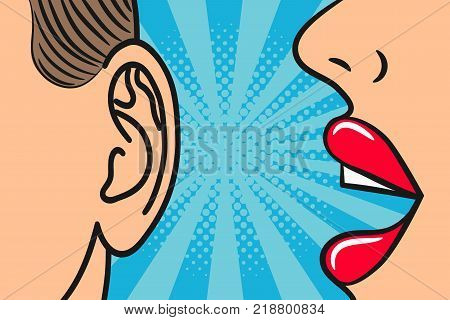 Woman lips whispering in mans ear with speech bubble. Pop Art style, comic book illustration. Secrets and gossip concept. Vector.