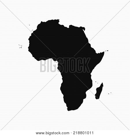 Africa Continent - map. Monochrome shape. Vector illustration.