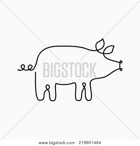 Pig one line drawing. Continuous line swine animal. Hand-drawn illustration for logo, emblem and design card, poster. Vector.