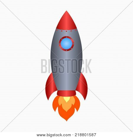 Rocket. Spaceship take off with fire. Colored space ship icon. Vector illustration.