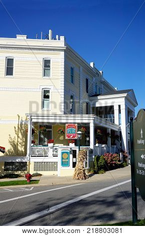 PETOSKEY, MICHIGAN / UNITED STATES - OCTOBER 18, 2017: The Noggin Room Pub, a casual bar and grille, inside the historic Perry Hotel, features Michigan craft brews and local entertainment, in downtown Petoskey.