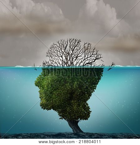 Polluted air contamination with hazardous industrial toxic emissions as a tree shaped as a human head underwater with the hazardous gas killing the plant with 3D illustration elements.