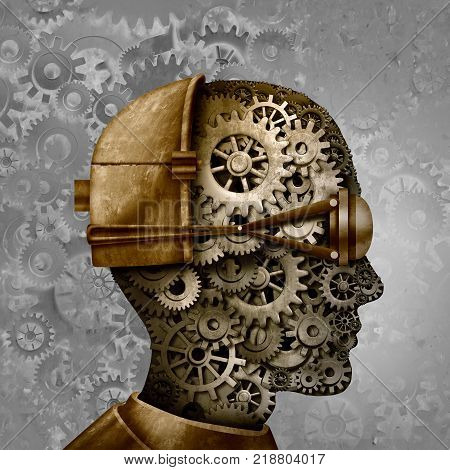Steampunk and steam punk antique machine technology intelligence design as a retro gear cyberpunk and machine cog head design as science fiction fantasy art as a 3D illustration.