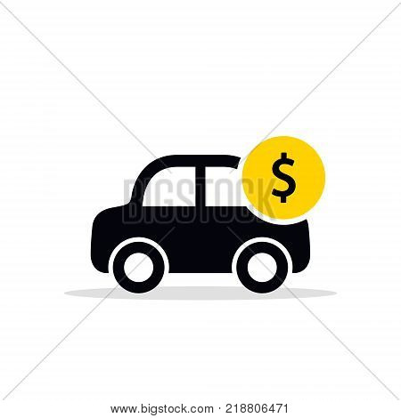 Car with coin icon vector. Buying car illustration in flat style. Save money for buying car business concept.