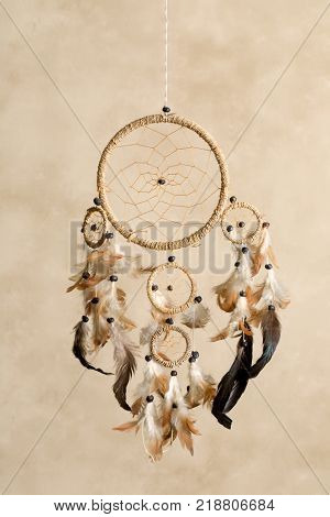 Native American dreamcatcher made of brown feathers