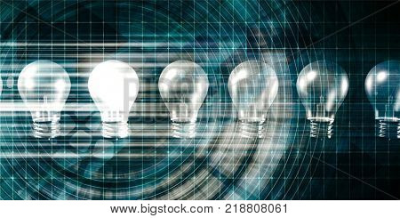 Innovation with Special Light Bulb Lit As Concept 3D Render