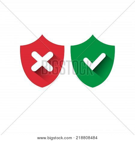 Shield Red And Green Icons Check Mark Protection And Security Concept Access Approved And Denied Vector Illustration