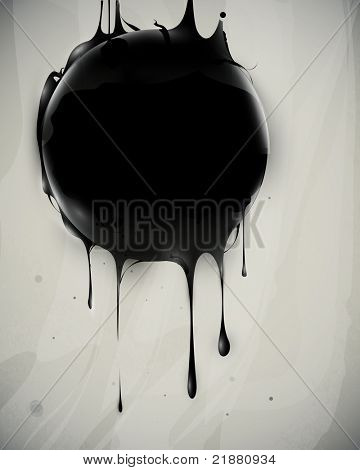 abstract oil slick flows with drops