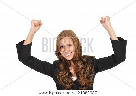 Young Woman Pulls Up Her Arms