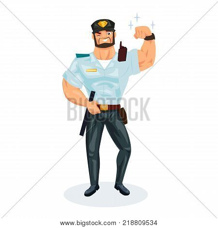 Policeman working cartoon character person in working situations. Policeman, in working clothes, in form, with equipment, demonstrates strength, excellence, ability and skills. Vector illustration.