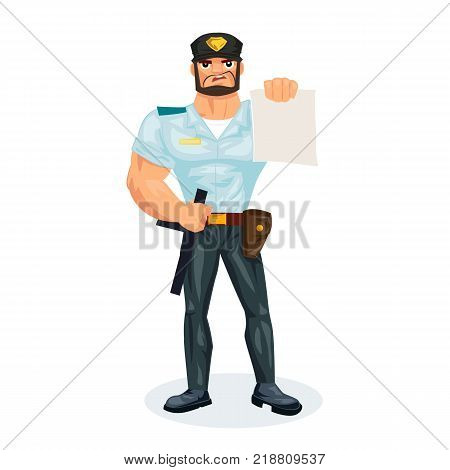 Policeman working cartoon character person in working situations. Policeman, in working clothes, in form, makes a fine to the offenders, delinquents, indicates on the law. Vector illustration.