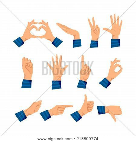 Set of men's hands in different gestures: love and warmth, support, respect, five, protest, stop, attention, ok, excellent, pointer, class deviation Signals man's hands Vector illustration