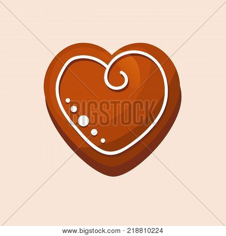 New Year, Christmas gingerbread, sweet pastries in form heart. Decorative, beautiful gingerbread. Christmas cookies, delicious biscuits in glaze and with powdered sugar. Vector illustration isolated.
