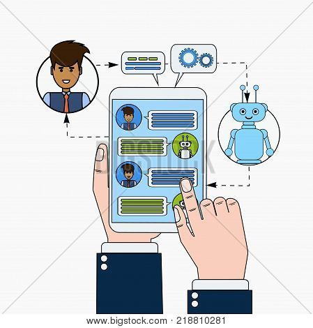 Business Man Chatting With Chatbot Holding Digital Tablet, Modern Chatter Technology Tech Support Service Online Concept Vector Illustration
