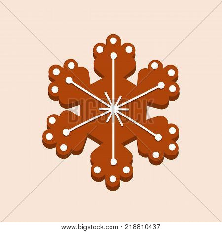 Christmas gingerbread with glaze, snowflake. New Year's gift, children holiday. Merry christmas, new year. Christmas cookies, delicious biscuits in glaze and with powdered sugar. Vector illustration.