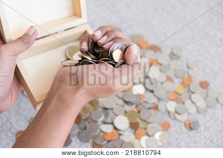 Save money with stack money coin. Put coins in the box