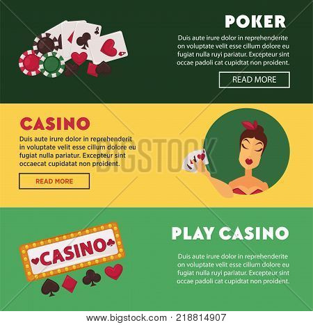 Play casino and poker promotional Internet posters set with play cards, colorful chips, elegant woman-player and club attractive signboard with lights isolated cartoon flat vector illustrations.