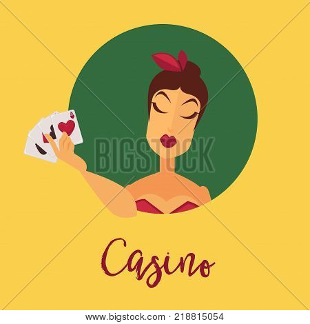 Casino promo poster with female client with feathers in hair in red dress who holds play cards inside green circle with italic sign isolated cartoon flat vector illustration on yellow background.