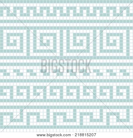 Blue and white geometric greek meander traditional seamless pattern, vector background