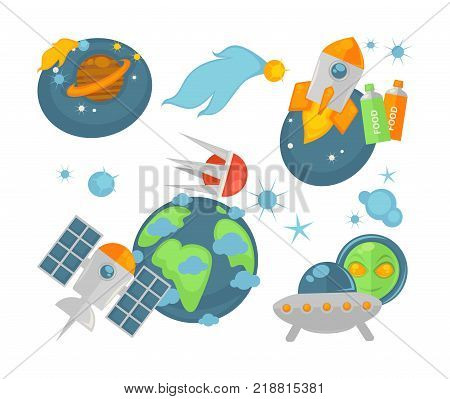 Modern spacecrafts and planets vector illustrations. Saturn with belt, meteor in fire, spaceship with flame from turbine, food in tubes, Earth with artificial satellites and alien with flying saucer.