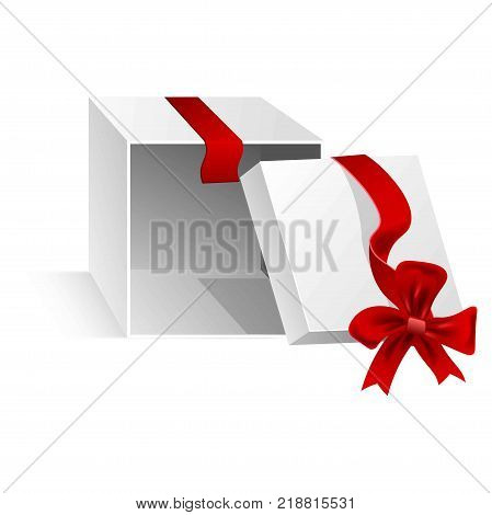 Open gift box of cubic shape that lies on side with cut silk shiny red ribbon tied in bow on top isolated cartoon vector illustration on white background. Festive compact container for presents.