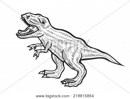 Hand-drawn carnivorous dinosaur. Angry tyrannosaurus rex with open huge mouth, sketch. Animal vector illustration