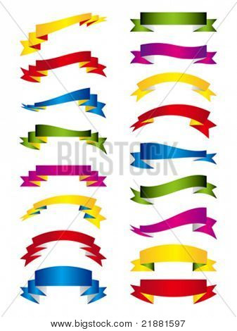 vector festive banner, tapes, flags of the different form