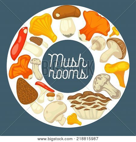 Raw natural mushrooms grown in forest formed in circle around sign in italic isolated cartoon flat vector illustration on blue background. Organic edible products with vitamins and minerals.