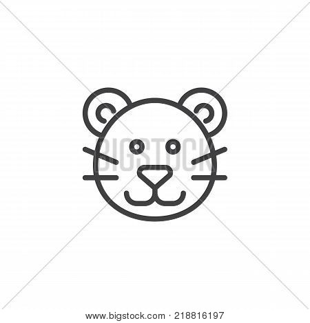 Puma head line icon, outline vector sign, linear style pictogram isolated on white. Cougar face symbol, logo illustration. Editable stroke