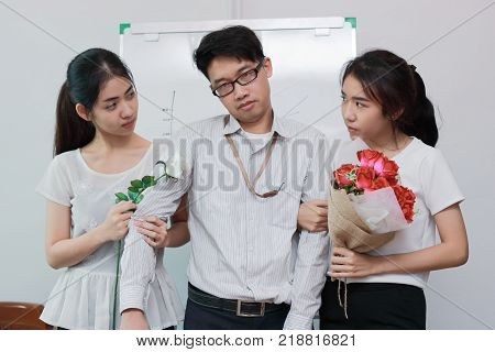 Stressed complicated relationship between three people. Love triangle concept.