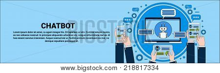 Chat Bot Concept Hand Holding Laptop, Tablet And Smart Phone Chatting With Chatter Horizontal Banner Online Support Service Technology Concept Vector Illustration