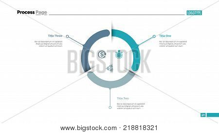 Three components circle diagram slide template. Business data. Graph, diagram. Creative concept for infographic, presentation, report. Can be used for topics like strategy, efficiency, planning