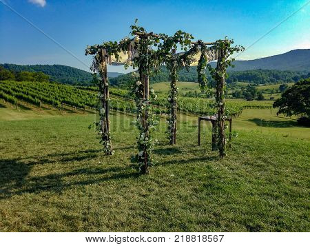wedding altar in the mountains made of flowers