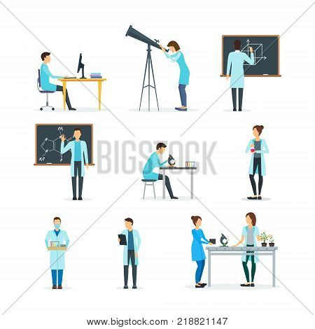 Cartoon Biologists, Chemists and Physicists Set Science Research and Experiment Professional in Laboratory Concept Flat Design Style. Vector illustration