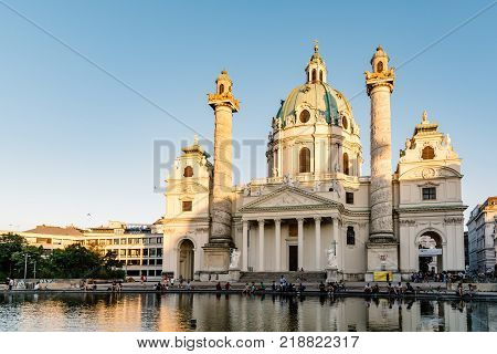 Vienna, Austria - August 15, 2017: Karlskirche or Church of St Charles is a baroque church located on the south side of Karlsplatz in Vienna