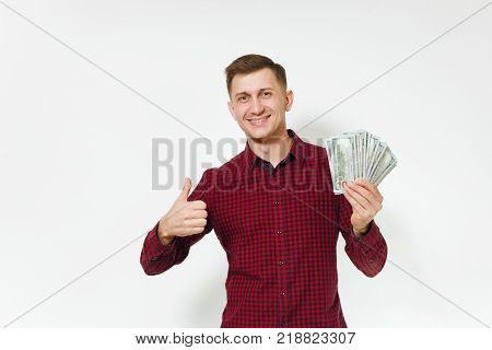 Handsome Satisfied Caucasian Lucky Young Happy Business Man 25-30 Years In Red Shirt Holding Wad Of