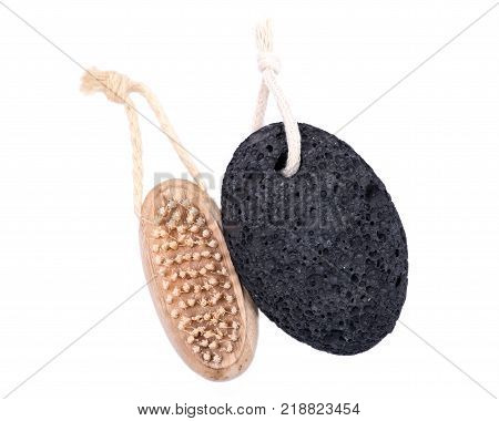 Natural bristle hand and nail wooden brush and volcanic pumice stone isolated on white background