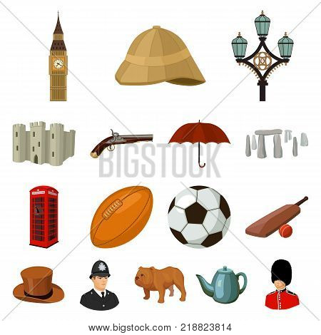 England country cartoon icons in set collection for design.Travel and attractions vector symbol stock  illustration.