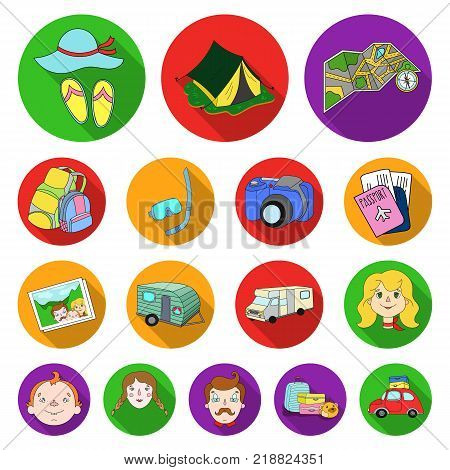 Family holiday flat icons in set collection for design. Recreation and equipment. vector symbol stock  illustration.