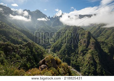 Pico do Arieiro seen from Balcoes Viewpoint Ribeiro Firo Madeira Portugal