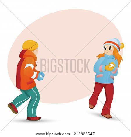 Kids, children, friends, boy and girl, playing snowballs and space for text, cartoon vector illustration isolated on white background. Happy kids, boy and girl playing snowballs, winter activity