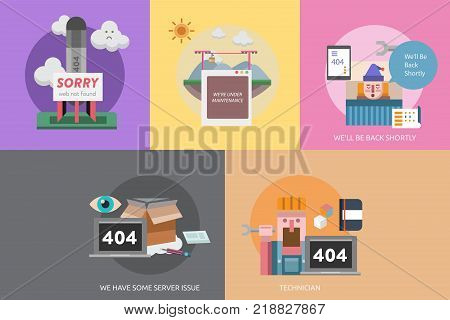 Web Maintenance Conceptual Design | Set of great flat design illustration concepts for web, maintenance, internet, network and much more.