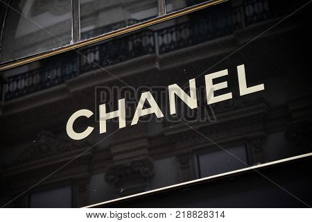 Milan, Italy - September 24, 2017:  Chanel Store In Milan. Fashion Week Chanel Shopping