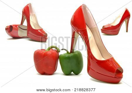 Sexy female shoes between a red and a green pepper 03