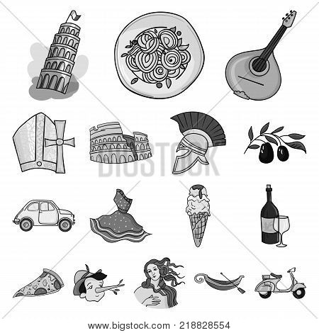 Country Italy monochrome icons in set collection for design. Italy and landmark vector symbol stock  illustration.