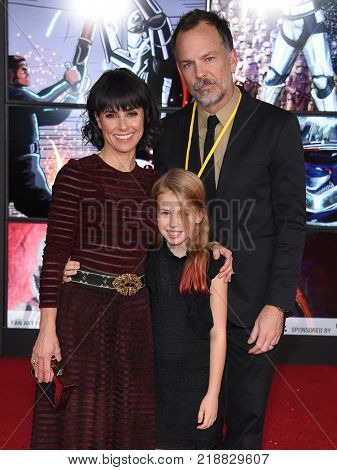 LOS ANGELES - DEC 09:  Constance Zimmer, Russ Lamoureux and Colette Zoe Lamoureux arrives for the 'Star Wars: The Last Jedi' World Premiere on December 09, 2017 in Los Angeles, CA