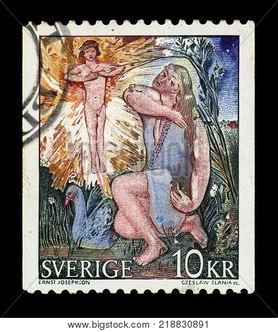 SWEDEN - CIRCA 1973: stamp printed in Sweden, shows goose girl, painting by Ernst Josephson, swedish painter, circa 1973