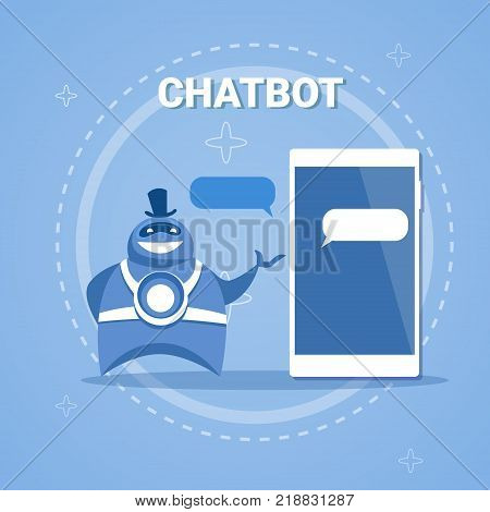 Chatbot Concept Support Robot Technology Digital Chat Bot Application On Smart Phone Vector Illustration